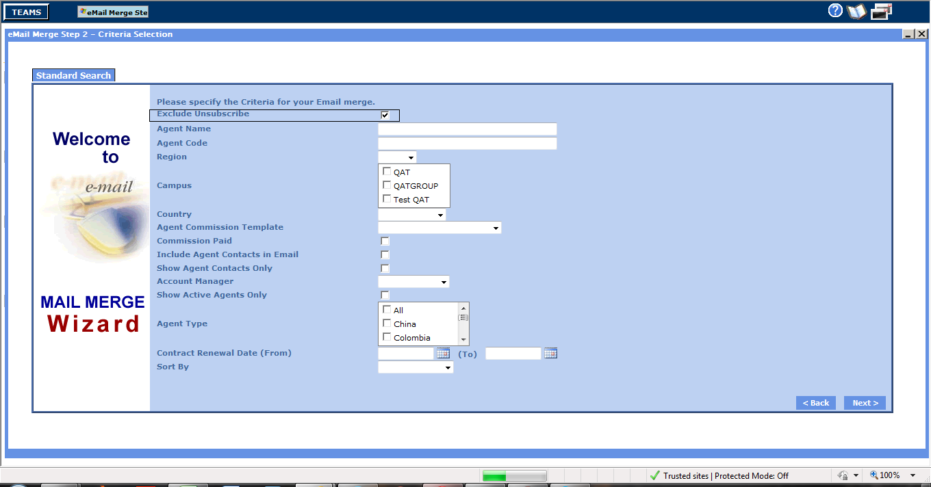 email-merge-agent-standard-search-parameter-screen