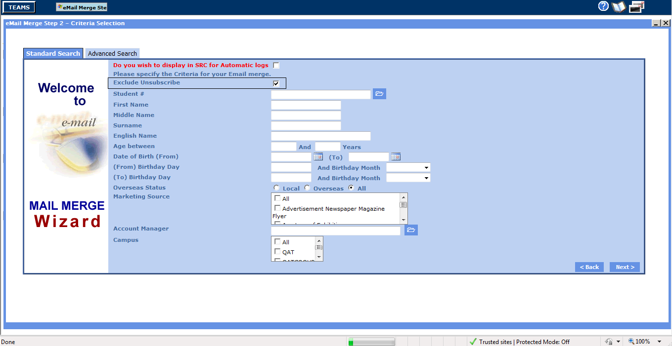 email-merge-student-standard-search-parameter-screen